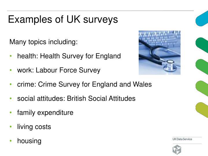 Examples of UK surveys