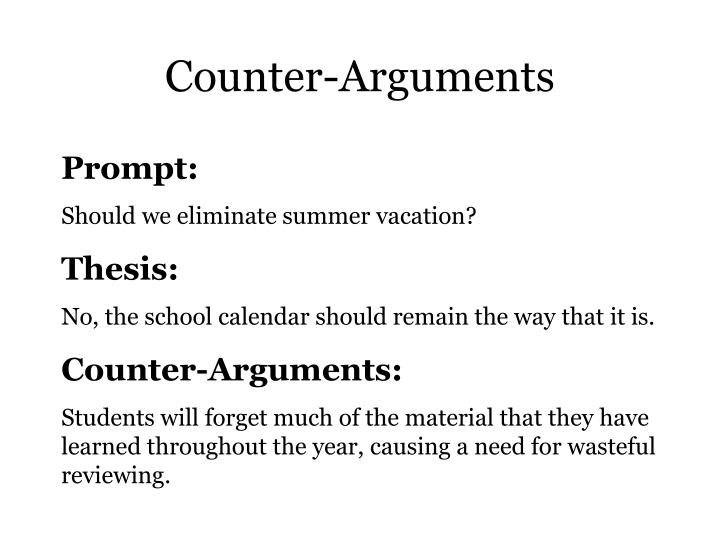 counterarguments Lesson skill: writing counterarguments strand writing  sol 116  126  materials • a rough draft of an essay or research paper that the students have already composed • sample argumentative essay in classical argument format (do aninternet search) • peer editing sheet • highlighters lesson 1 students print a copy of a rough draft of an argumentativepaper that can be written.