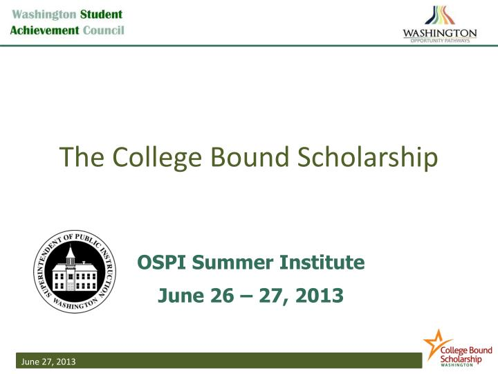 the college bound scholarship