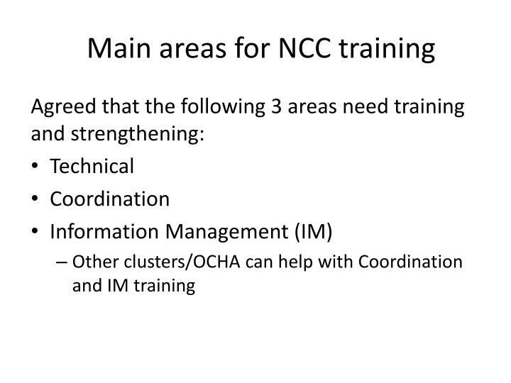 Main areas for ncc training
