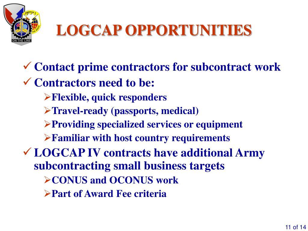 PPT - Logistics Civil Augmentation Program (LOGCAP