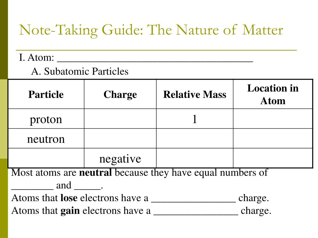 PPT - The Nature of Matter PowerPoint Presentation - ID:2994516