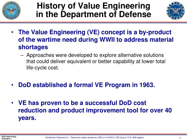 History of value engineering in the department of defense