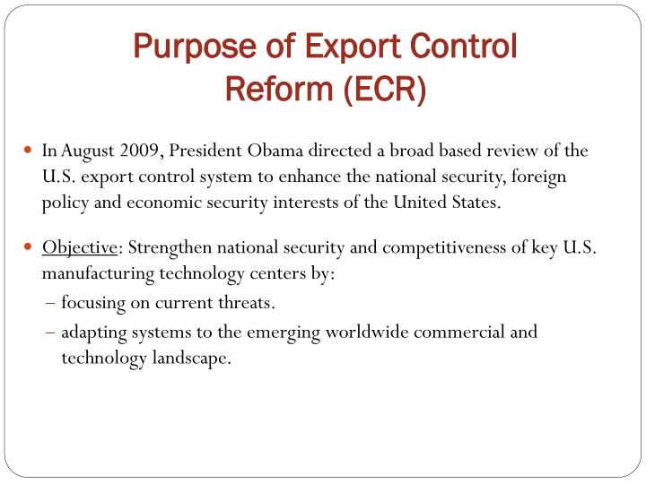 Purpose of export control reform ecr