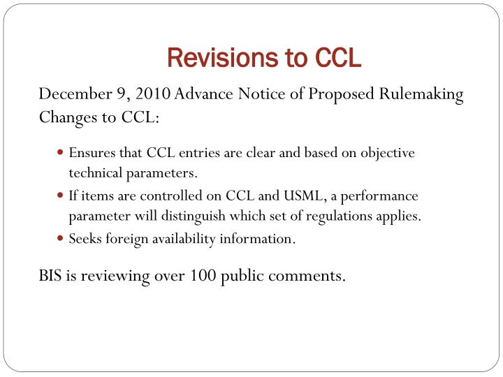Revisions to CCL