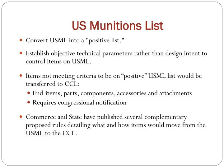 US Munitions List