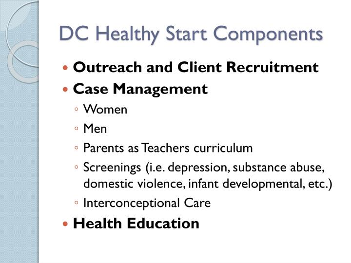 DC Healthy Start Components