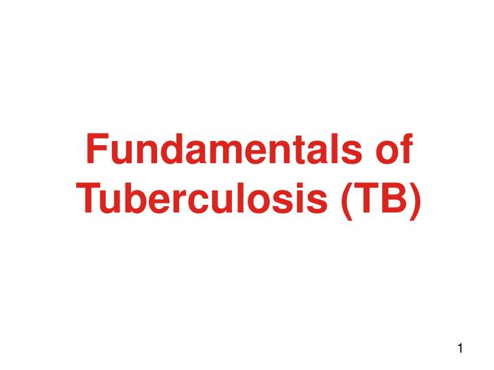 fundamentals of tuberculosis tb n.