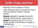 tariffs trusts and silver