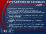 some comments for salvageable drafts