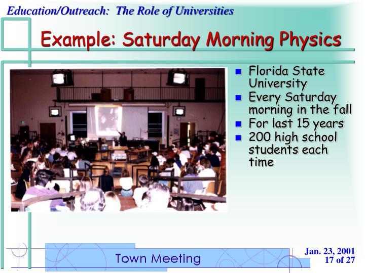 Example: Saturday Morning Physics