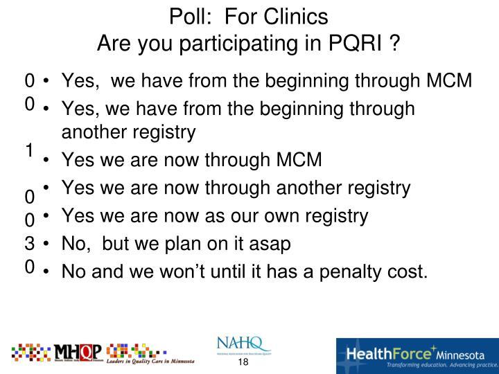 Poll:  For Clinics