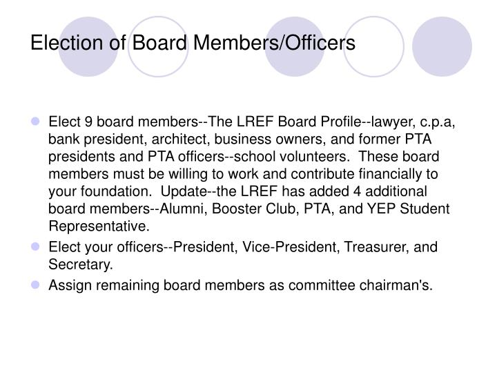 Election of Board Members/Officers