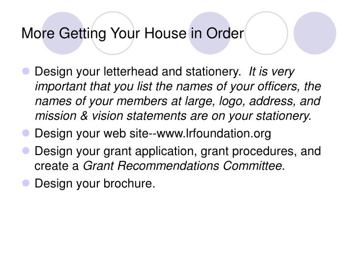 More Getting Your House in Order