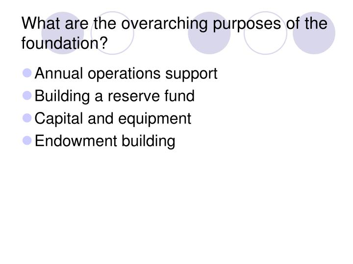 What are the overarching purposes of the foundation?