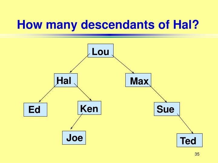 How many descendants of Hal?