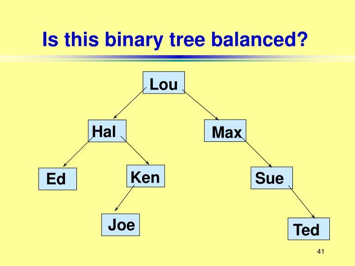Is this binary tree balanced?