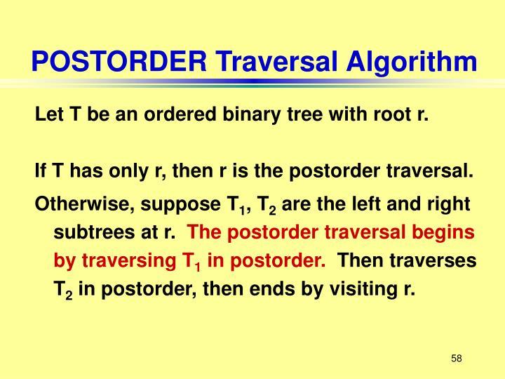 POSTORDER Traversal Algorithm