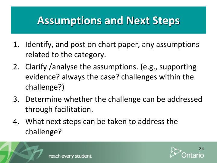 Assumptions and Next Steps