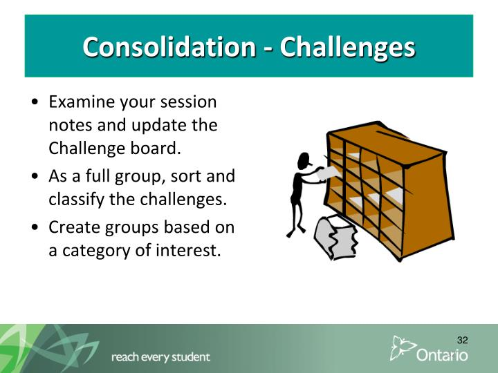 Consolidation - Challenges