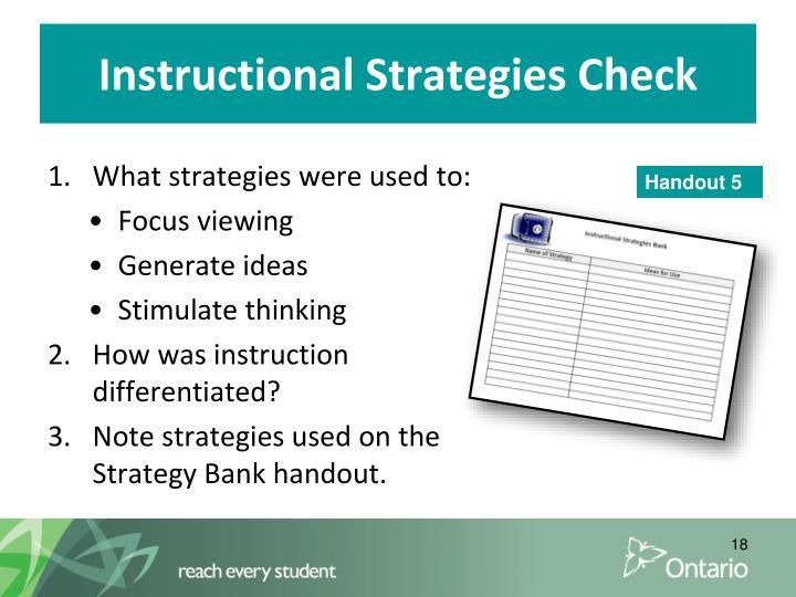 Instructional Strategies Check
