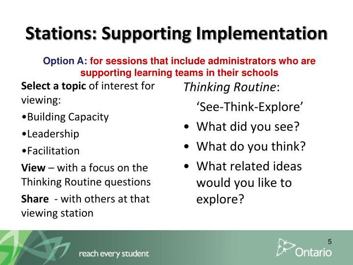 Stations: Supporting Implementation