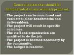 general points that should be demonstrated in any winning proposal1