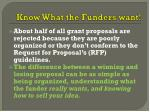 know what the funders want
