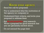 know your agency