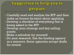 suggestion to help you to prepare