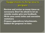 suggestions to help you to prepare1