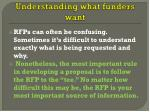understanding what funders want