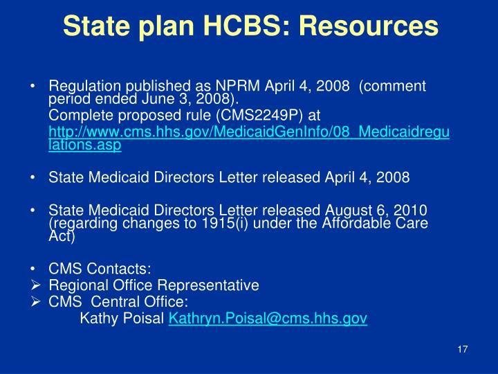 State plan HCBS: Resources