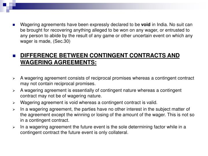 Ppt Contingent Contracts And Wagering Agreements Powerpoint