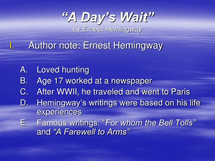 A day s wait by ernest hemingway