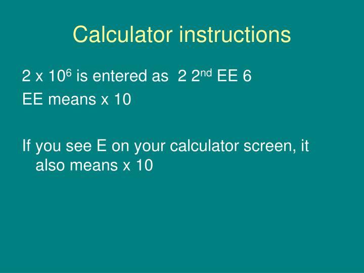 Calculator instructions