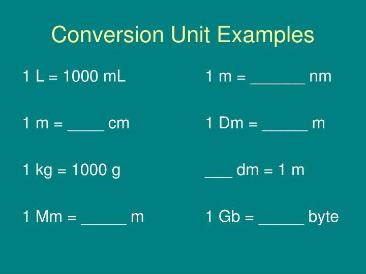 Conversion Unit Examples