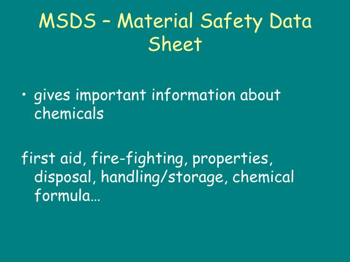 MSDS – Material Safety Data Sheet