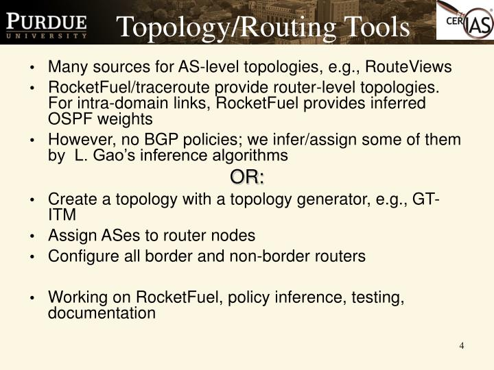 Topology/Routing Tools
