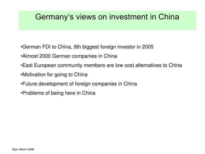 germany s views on investment in china n.