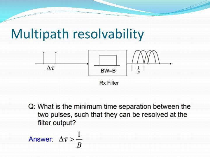 Multipath resolvability