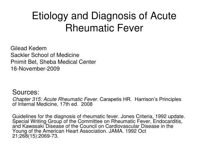 etiology and diagnosis of acute rheumatic fever n.