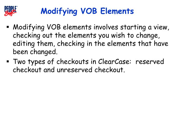 Modifying VOB Elements