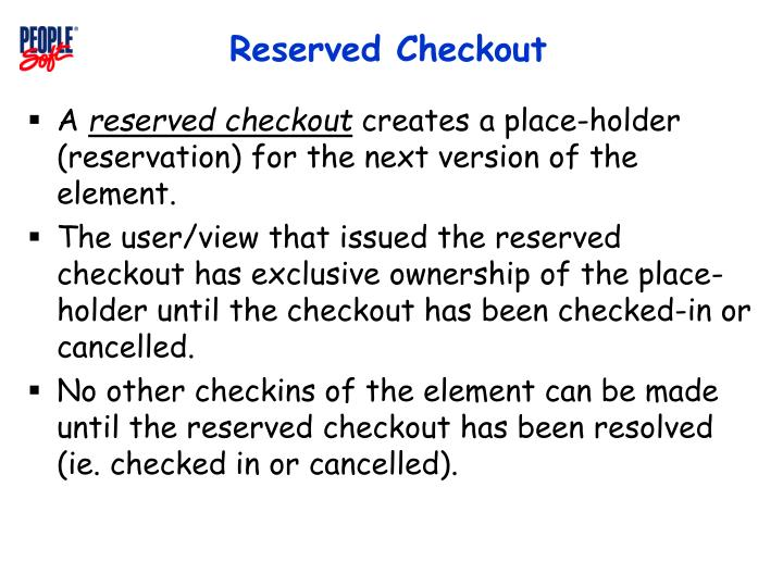 Reserved Checkout