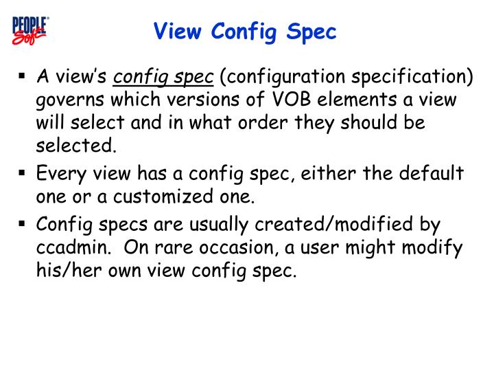 View Config Spec