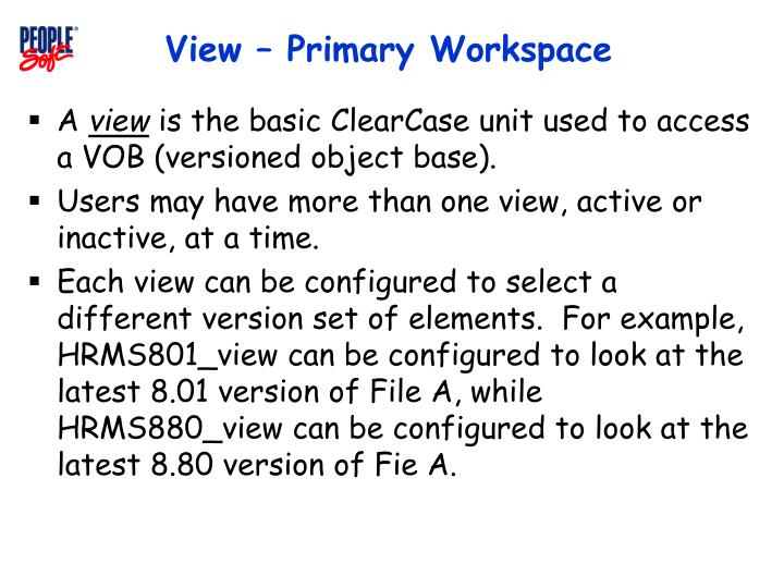View – Primary Workspace