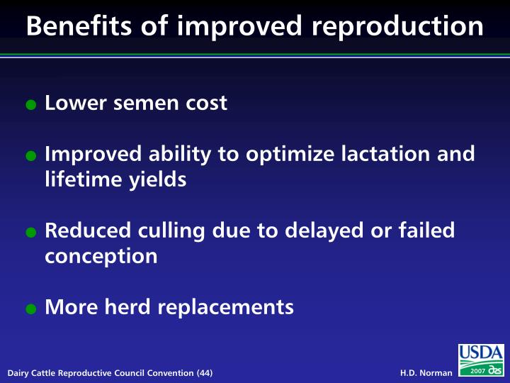 Benefits of improved reproduction