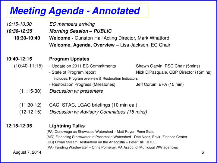 Meeting Agenda - Annotated