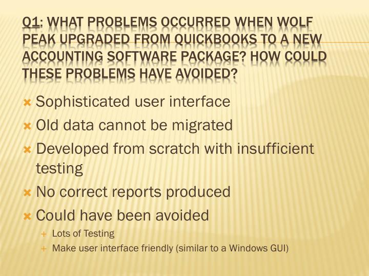 what problems occurred when wolf peak upgraded from quickbooks to a new accounting software package  What problems occurred when wolf peak upgraded from quickbooks to a new accounting software package how could these problems have been avoided.