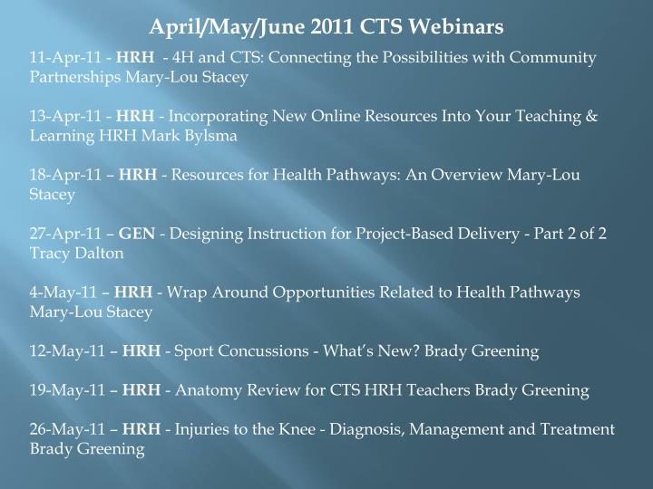 April/May/June 2011 CTS Webinars